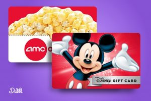 Disney gift card and AMC theaters gift card